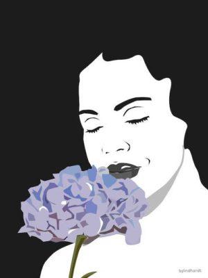 woman 2 sort-hvid med blomst plakat